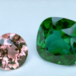 Photograph of two faceted elbaites (G1109 and G1108) from the National Gem Collection